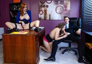 Huge-titted adult movie star Lena Paul and her red-haired..