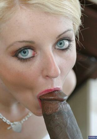Euro model Sophie Dee is fellating this thick ebony