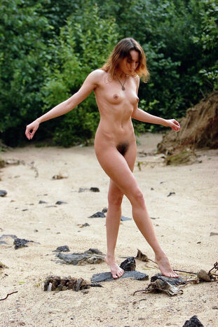 Crimean insane beach female Daria with furry pleasure button