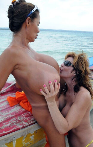 Big-titted asian granny MINKA girl-on-girl fuckfest on the..